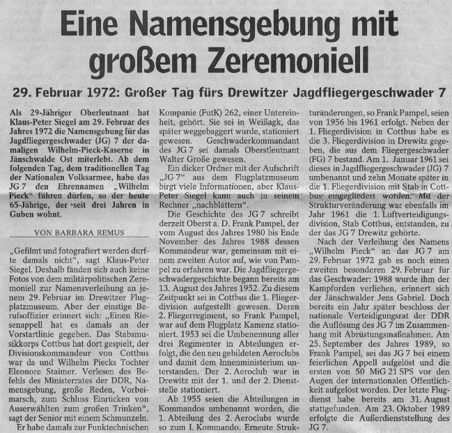 Text Lausitzer Rundschau 30 Jahre Ehrenname